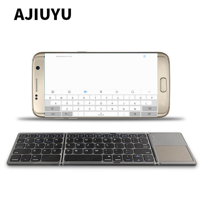 Three folded wireless Bluetooth Keyboard For Samsung Galaxy S8 S9 S7 S6 edge S8+ S9+ S5 S4 Note8 Note 8 7 6 5 Mobile Phone Case все цены