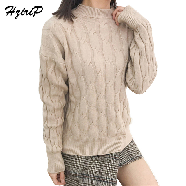 e73061c83b9 HziriP New Sweaters Knitwear Women Pullovers Long Sleeve 2018 New Casual  Sweater Autumn Tops Turtlneck Fashion Female Clothing