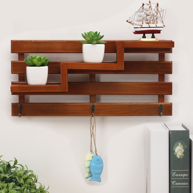 Retro Wooden Organizers Wall Storage Rack Shop Ornament Display Potted Plant Shelf Living Room Multilayer