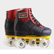Roller Skates Black Red Genuine Leather With Led Lighting Wheels Double Line Skates Adult 4 Wheels Two line Roller Skating Shoes