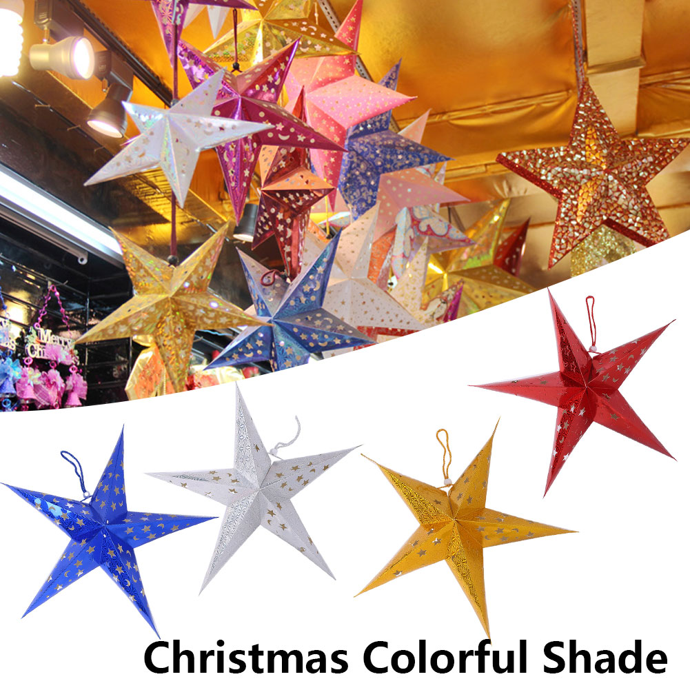 Sunny 60cm Laser Paper Lamp Lantern Christmas Lampshade Light Shade Diy Wedding Festival Hanging Five-pointed Stars Party Decorations
