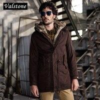 Valstone 2017 High end Inverno Parka Uomini Cappotto caldo standard fit lungo modello di spessore cotone imbottito Giacca maschile abbigliamento streetwear