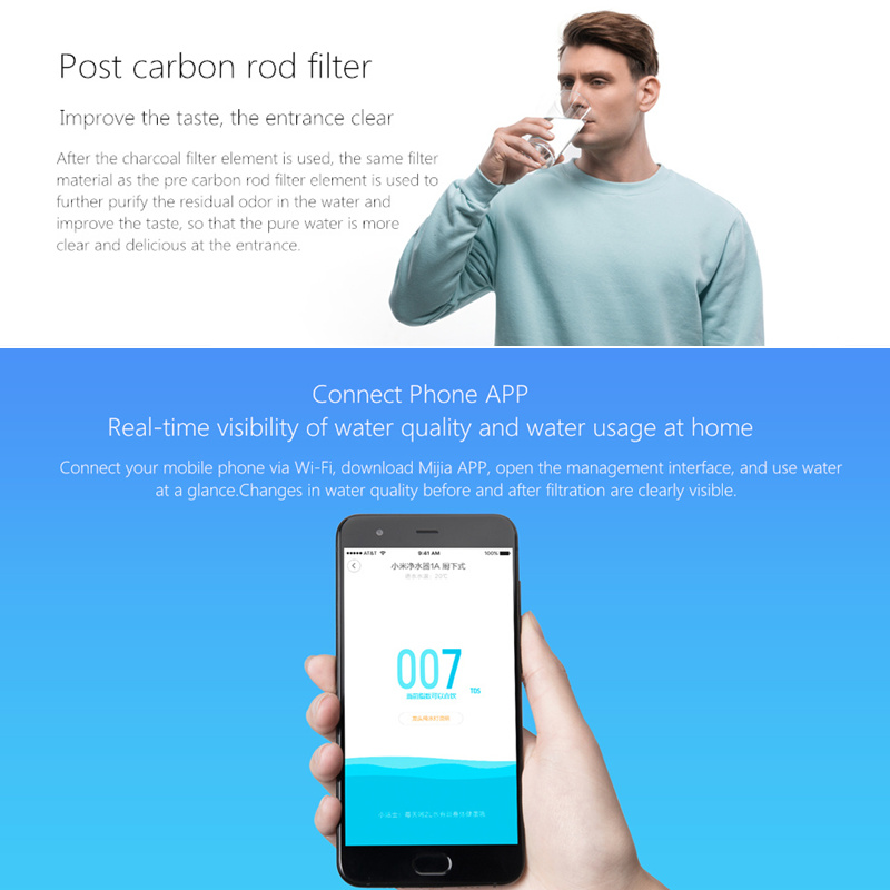 US $192 45 18% OFF|Original Xiaomi Mi Water Purifier 1A with Faucet Support  WiFi Connect Smart Mi Home APP RO Reverse Osmosis Filter for Household-in