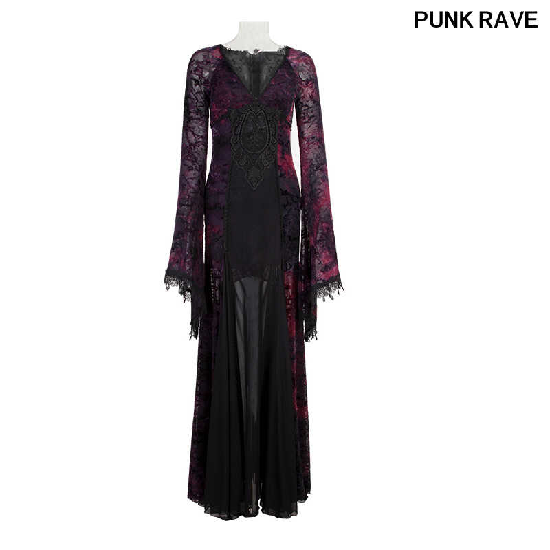 0c5cb821735f4 Gothic Deep V Collar Gorgeous Women Floor Formal Dress Palace Flocking Dark  Violet Witch Women Long