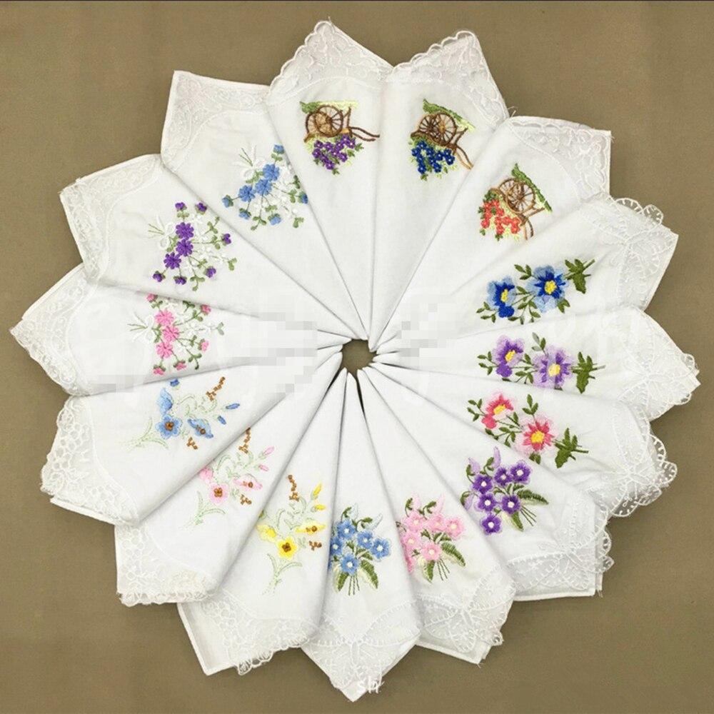 60 unids/lote pañuelo bordado algodón blanco algodón bordado encaje borde único pañuelo tela de algodón pañuelo-in Pañuelos de toalla from Hogar y Mascotas    1