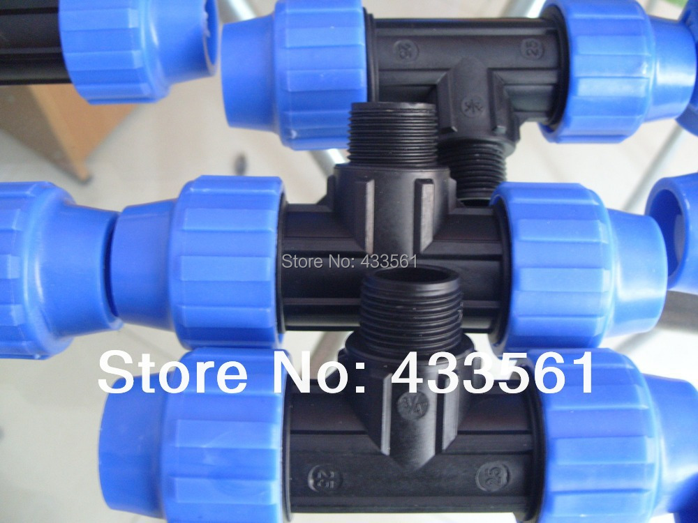 """Quality PP Male thread Equal Tee size DN25X3/4""""  for gardening farming irrigation fittings /sanitary components"""