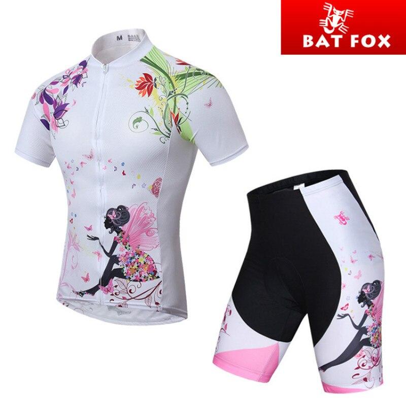 Prix pour Batfox D'été Femmes Cyclisme VTT Court Manches Jersey Définit Vélo Vélo Costumes Chemises Rembourré Vélo Court Sport Portent des Uniformes