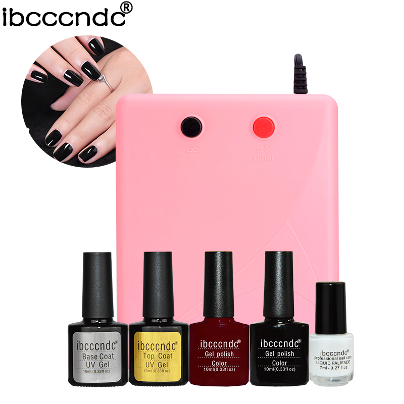 Nail Art Base Tools 36W UV Lamp & 2 Colors Soak Off Gel Base Top Coat Gel Nail Polish Kit Manicure Set with 7ml Liquid Palisade nail art manicure tools 36w uv lamp 6 colors soak off gel varnish nail base top coat polish with remover practice set file kit