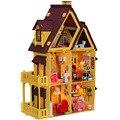 Casa de boneca de madeira feitos à mão DIY brinquedos educativos, 1:12 grandes casas de bonecas casa 3d em miniatura modelo de construção montada presente de natal