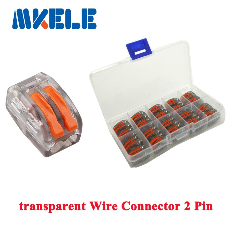 20pcs Transparent Universal Fast Wire Wiring Connector 2 Pin Mini Automotive Terminal Block Conductors