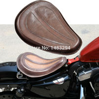 Heavy Duty Brown Leather Solo Seat W Brackets Springs Fits Fits For Harley Sportster 883 1200
