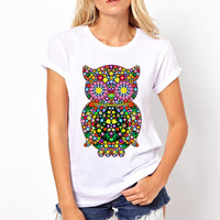 Euro Size 2017 Women Colorful Flowers Owl Print Funny T Shirts Summer White Short Sleeve Female