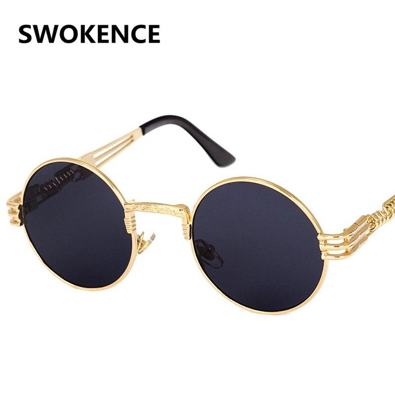 046de2c7b SWOKENCE Steampunk Metal Óculos de Sol Das Mulheres Dos Homens de Design Da  Marca Clássico Rodada de Revestimento Da Lente do Espelho Do Vintage Retro  ...