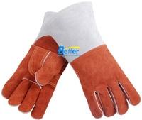 14 Inch Lasser Veiligheid Handschoen Split Koe Lederen Lassen Werk Handschoen-in Veiligheidshandschoenen van Veiligheid en bescherming op