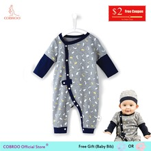 COBROO Newborn Baby Boy Rompers Grey Cotton Clothes Jumpsuit 0-12 Month CW150009