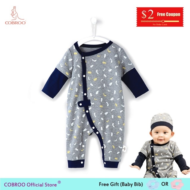 b05cc55af US $11.95 49% OFF|COBROO Newborn Baby Boy Rompers Grey Cotton Baby Clothes  Jumpsuit 0 12 Month CW150009-in Rompers from Mother & Kids on ...
