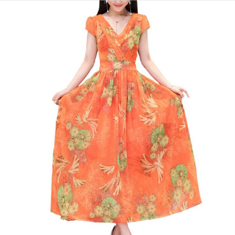 Plus size 4XL New Bohemian Dress Women Summer Short sleeved Printed Dress Natural Silk Slim Big swing Long Dresses