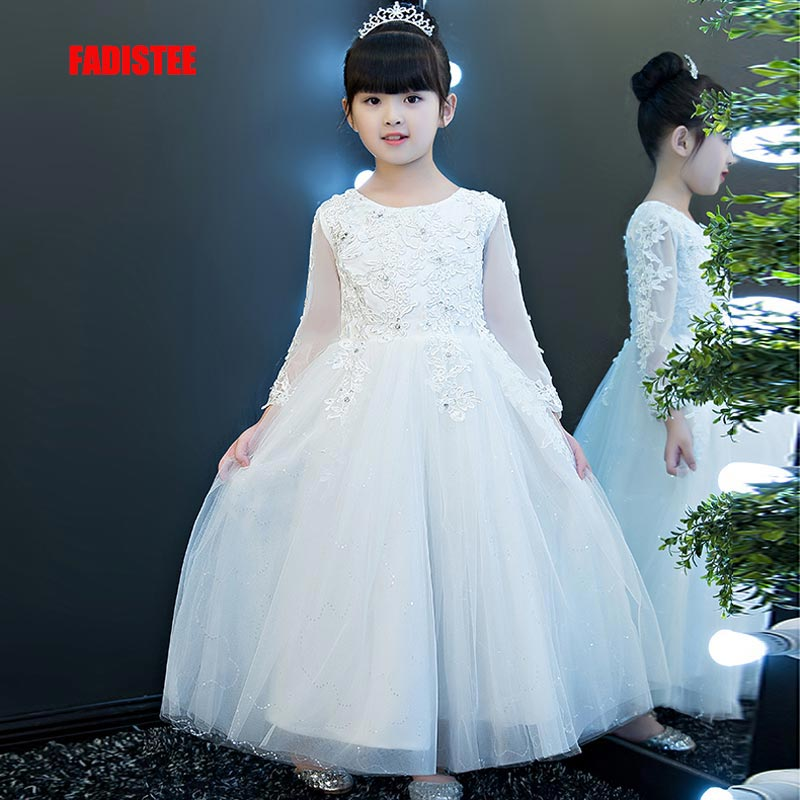 FADISTEE New Arrival Pretty   Flower     Girl     Dresses   appliques lace Baby   Girl     Dress   beading crystal sweet style   dresses   2019