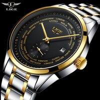 LIGE Tourbillon Mens Watches Top Brand Luxury Gold Men Watch Automatic Mechanical Steel Wristwatches Relogio Masculino