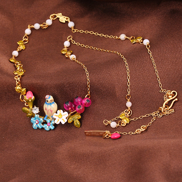 2016 Hot Sale Three-dimensional Blue Tit Daisy Flower Rose Necklace Short Chain Woman Fashion Jewelry valentine's day Gift