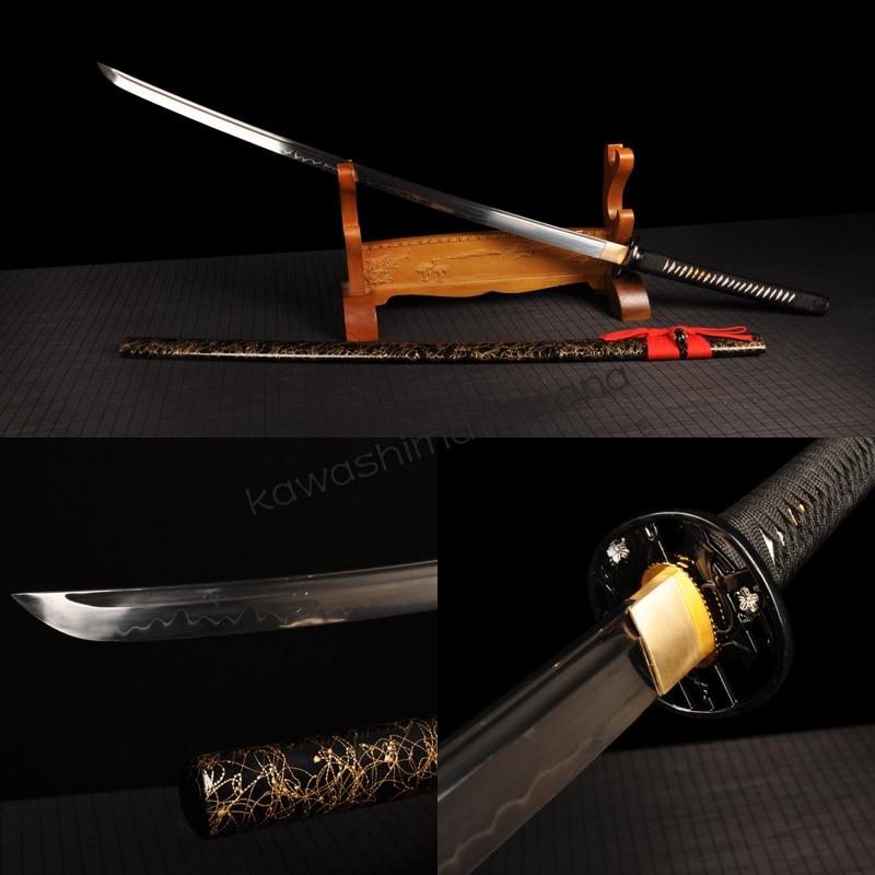 Handmade T10 Clay Tempered Smaurai Sword Katana Sharp Edge Traditional Handcraft