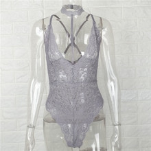 Gtpdpllt Sexy Halter lace bodysuit Women Skinny 2018 hollow out black Grey jumpsuit romper body feminino overalls mesh playsuit