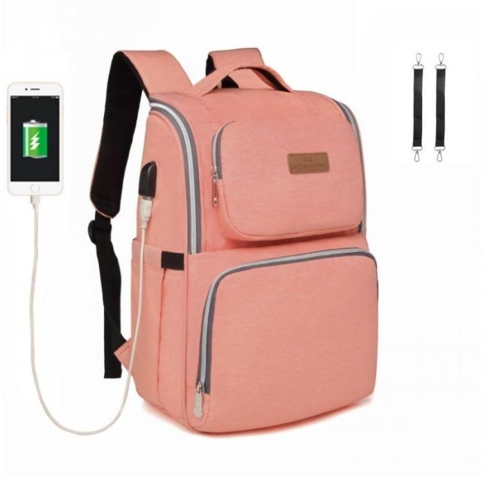 USB Schnittstelle Baby Wickeltasche Mutterschaft Windel Taschen Für Kinderwagen Taschen Große Kapazität Reiserucksack Baby Pflege Tasche