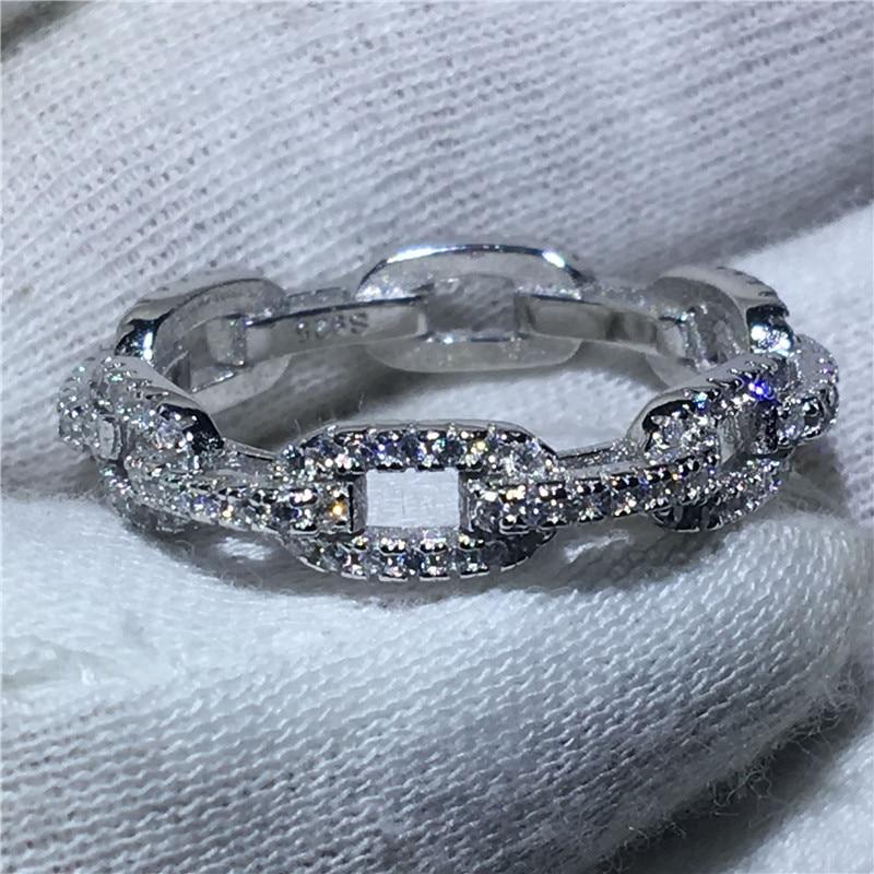 H chaîne Style 100% Soild 925 bague en argent Sterling Sona 5A zircon pierre de fiançailles bague de mariage pour femmes hommes bijoux