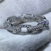 H Chain Style 100% Soild 925 Sterling Silver ring Sona 5A zircon Stone Engagement Wedding Band Ring for women men Jewelry