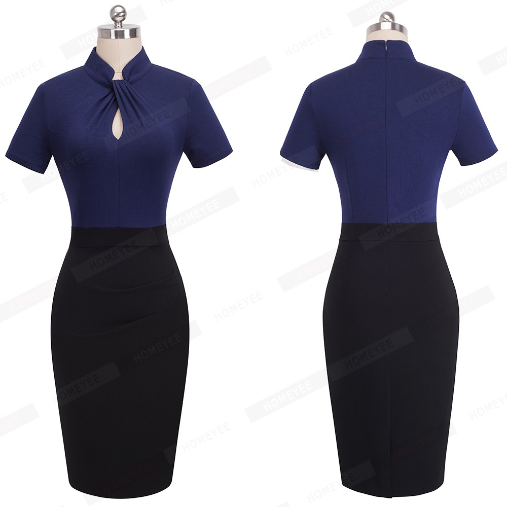 Elegant Work Office Business Drapped Contrasting Bodycon Slim Pencil Lady Dress Women Sexy Front Key Hole Summer Dress EB430 13