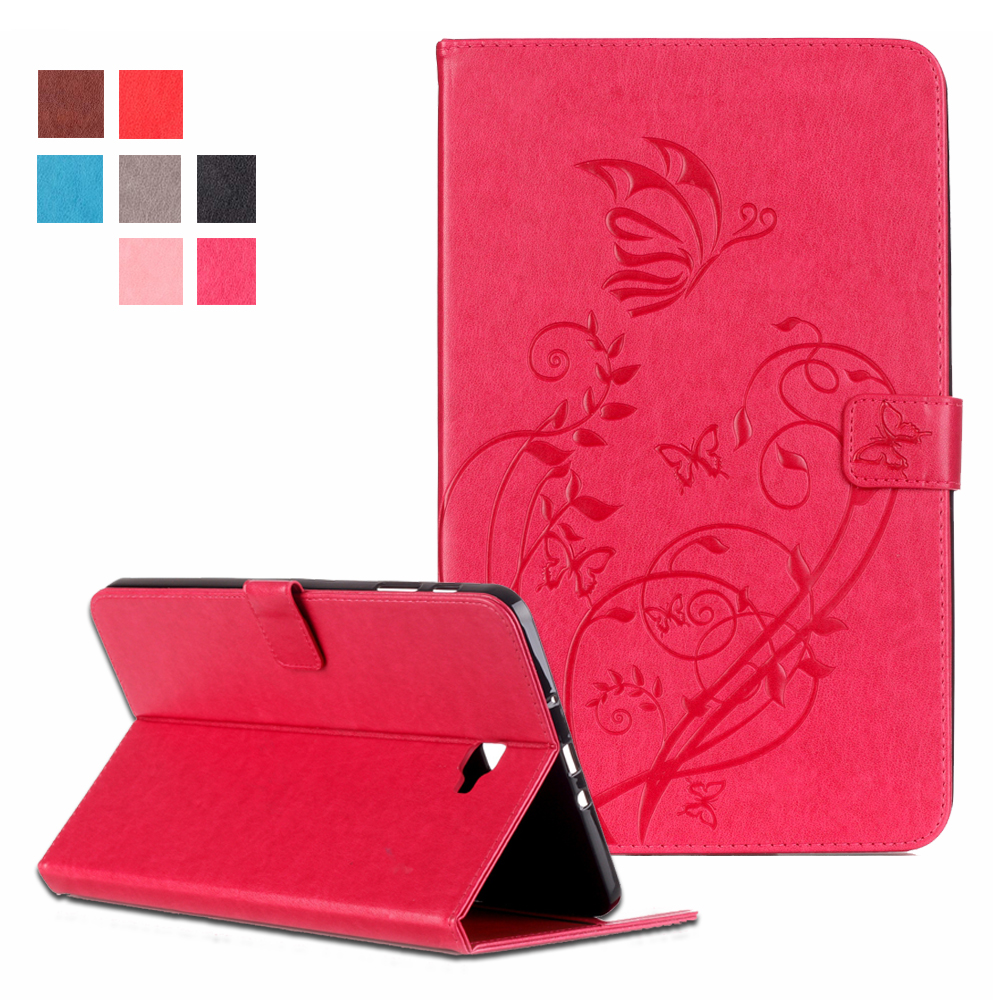 Embossing PU Leather Case Cover For Samsung Galaxy Tab A 10.1 2016 T580 T585 Magnetic Closure Case w/Auto Sleep & Wake w/Slots
