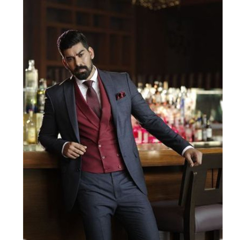 NoEnName_Null Latest Coat Mens Suits Dark Grey Wedding Suits For Men 2017 Best Man Suits Groom Tuxedos Formal Business Suit