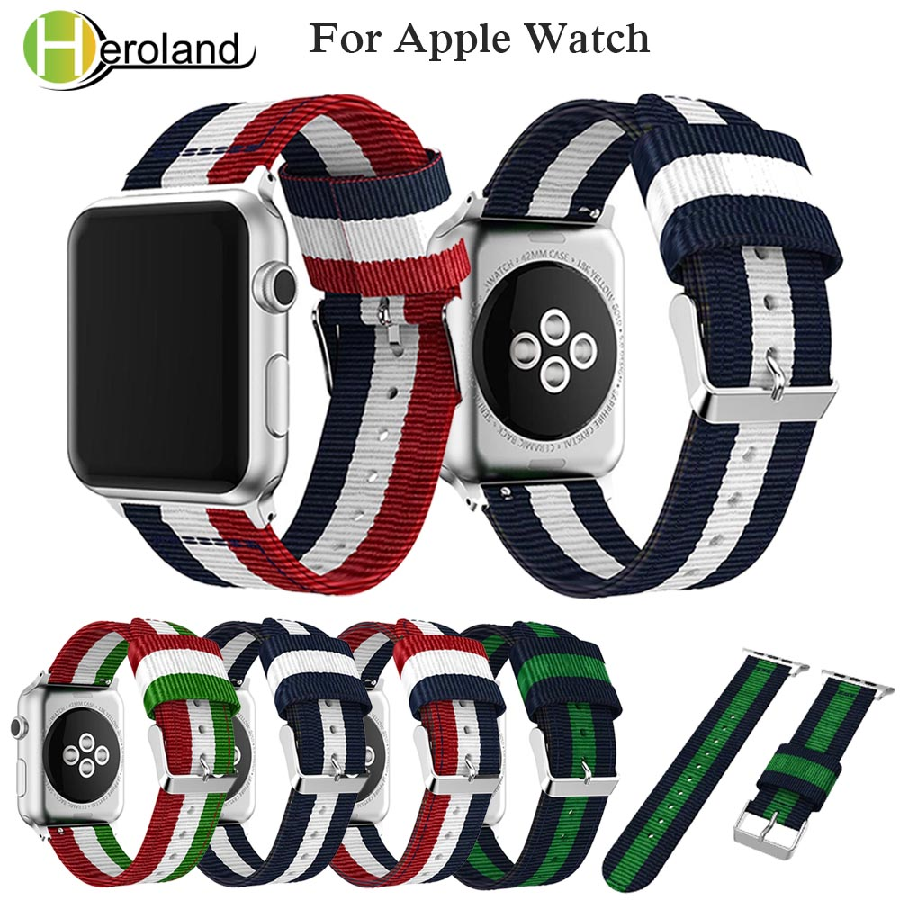 Sports Woven Nylon Strap For Apple Watch band series 1/2/3 /4 42mm 38mm bracelet for i watch band series 4 40mm 44mm accessory strap for apple watch 42mm fine woven nylon adjustable replacement sport band for apple watch 38mm series 1 series 2