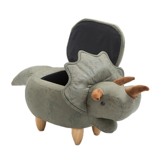 A,Dinosaur Shape Creative Wooden Footstool Sturdy Storage Shoe Bench Sofa with Bronzing Fabric Wooden Legs Multicolor 4