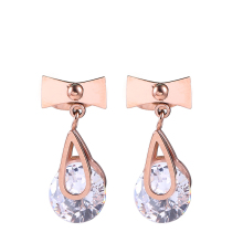 Rose Gold Bowknot Earrings for Women High Quality Stainless Steel Female with Crystal Fashion Jewelry