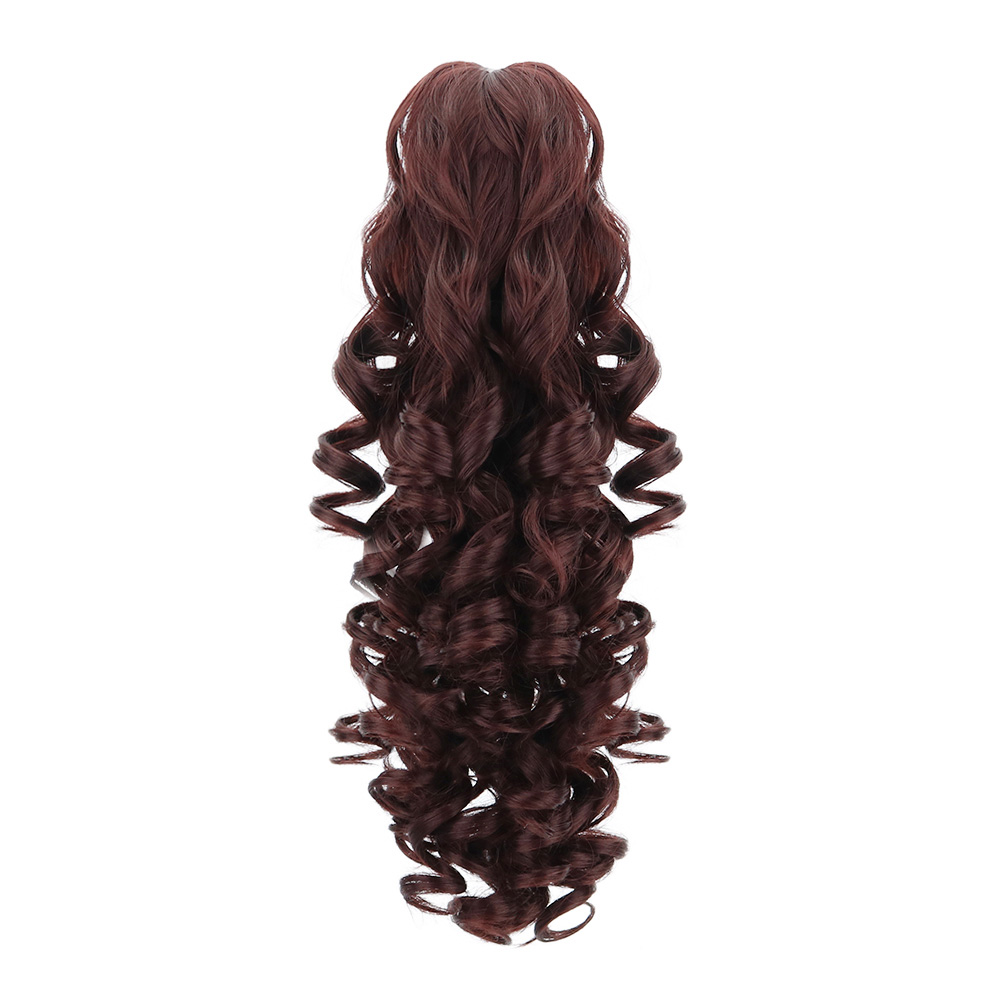 Ponytail Wig Hairpiece Clip-In Wavy Brown Natural Synthetic Claw 18-