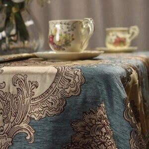 Image 5 - CURCYA europejski niebieski Chenille żakardowe luksusowy stół tkaniny formalne jadalnia obrusy Home dekoracyjny obrus rozmiar niestandardowy