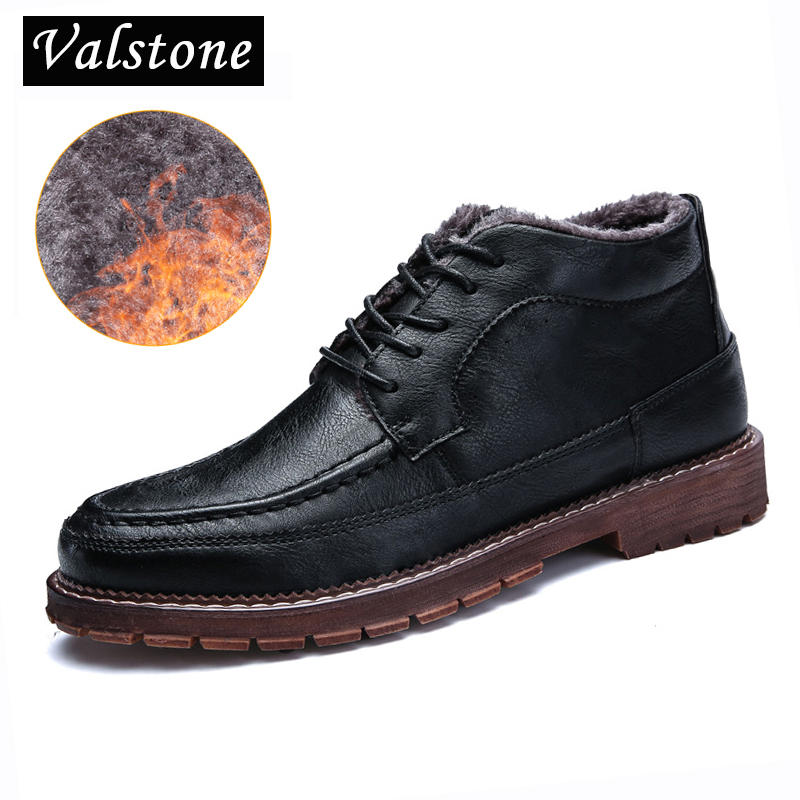 Valstone NEW 2018 Men Quality casual Leather shoes warm winter sneakers cotton padded lace-up loafers high top black brown sizes glowing sneakers usb charging shoes lights up colorful led kids luminous sneakers glowing sneakers black led shoes for boys
