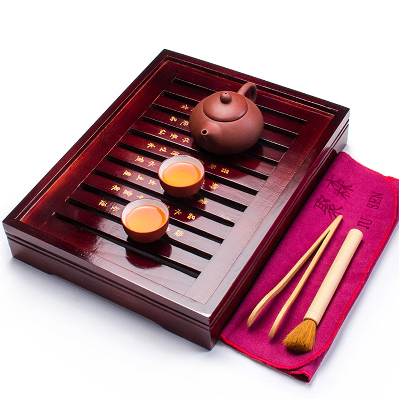 Chinese Tea Cup Sets Wood Tea Tray Purple Clay Teapot 2 Teacups Ceramic Tea Mug Tools