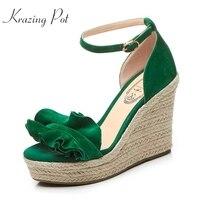 Fashion Superstar Brand Summer Shoes Ankle Strap Peep Toe Women Sandals Runway Flowers Wedges Super High