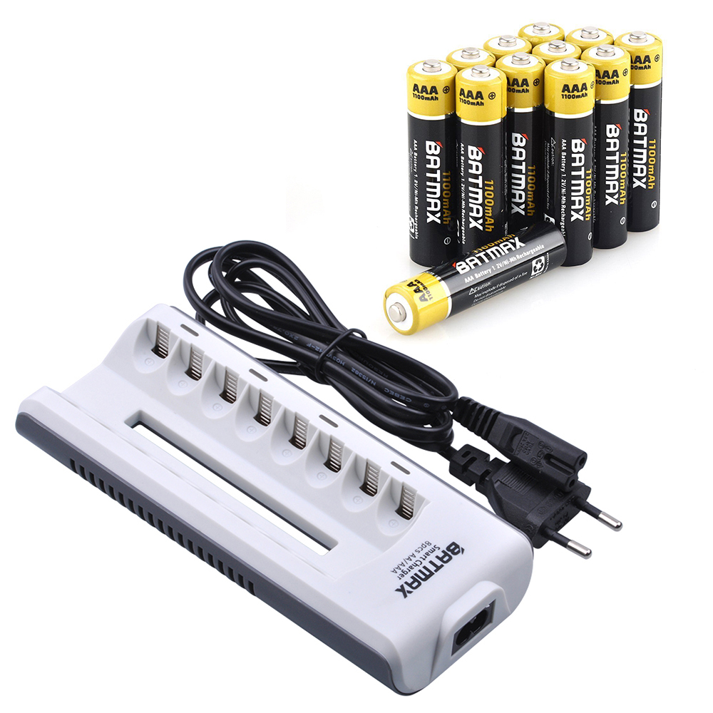 LCD Smart Charger AAA 1.2V Ni-MH Rechargeable Battery GO!GREEN 12pcs  x AA