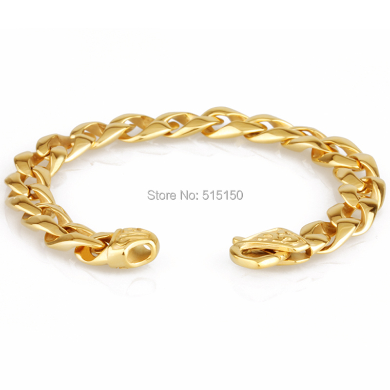 8.46 Best Selling Fashion Gold Tone Chain 316L Stainless Steel Christmas Gift Hot Mens Bracelet Bangle