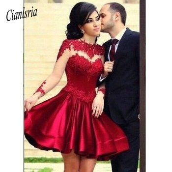 High Neck Long Sleeves Sheer Red Lace Satin Above Knee Length Homecoming Dresses Short Prom Dress See Through Party Dresses