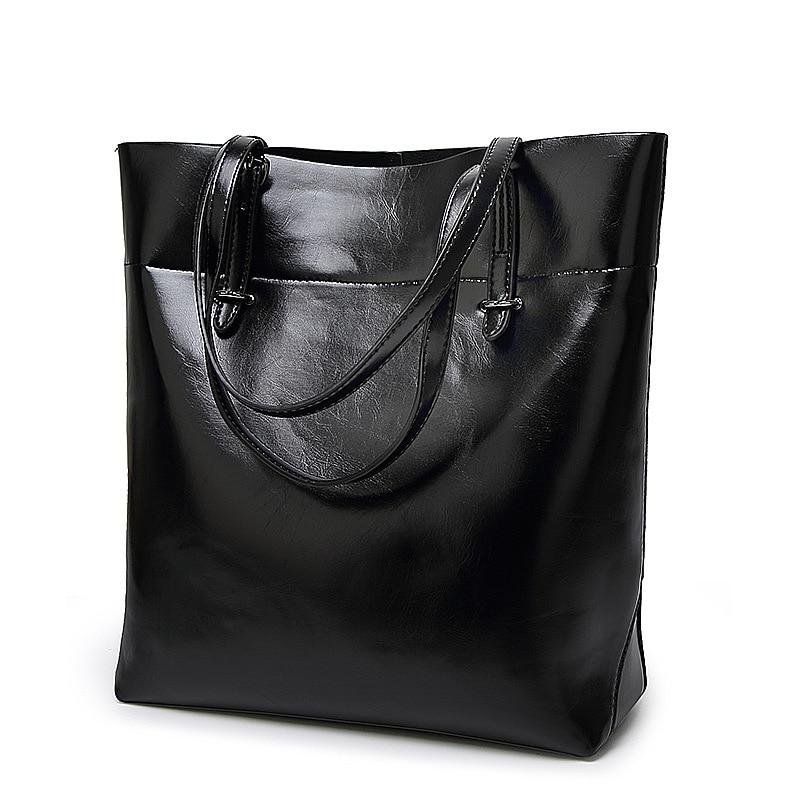цена на Designer Women Black Simple Bucket Tote One Shoulder Bag For Traval Handbag Female Fashion Pu Leather Hand Bag Big Purse Handbag
