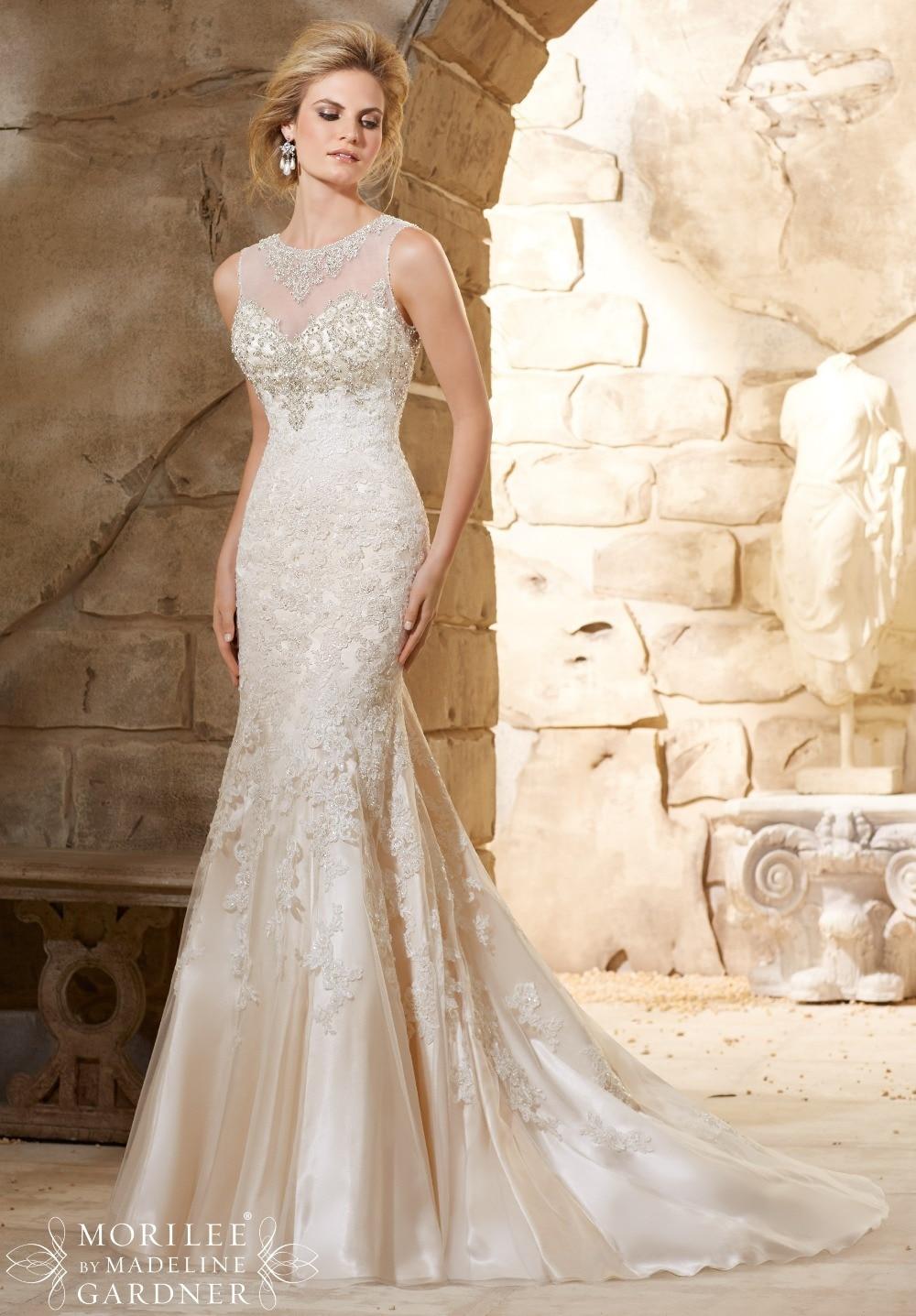 Heavy Beaded Custom Made Elegant Lace Wedding Dress See Through ...