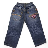 Kid Boys Jeans Letters Embroidery Elastic Waist Lines Decorative Crumple Pants Denim Children Casual Trousers MH0188