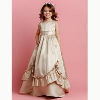 LAN TING BRIDE A Line Floor Length Flower Girl Dress Satin Sleeveless Jewel Neck with Beading