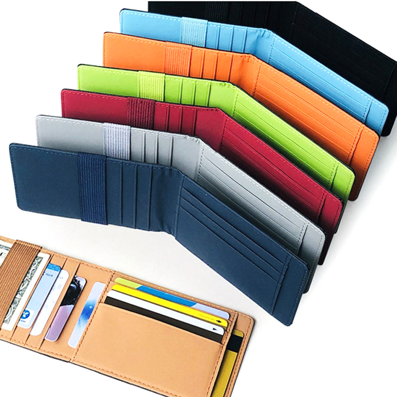 2019 New Slim Leather Women Money Clip Wallet Wholesale Mini Men's Purse Bank Credit Card Case Man Small Cash Holder For Male