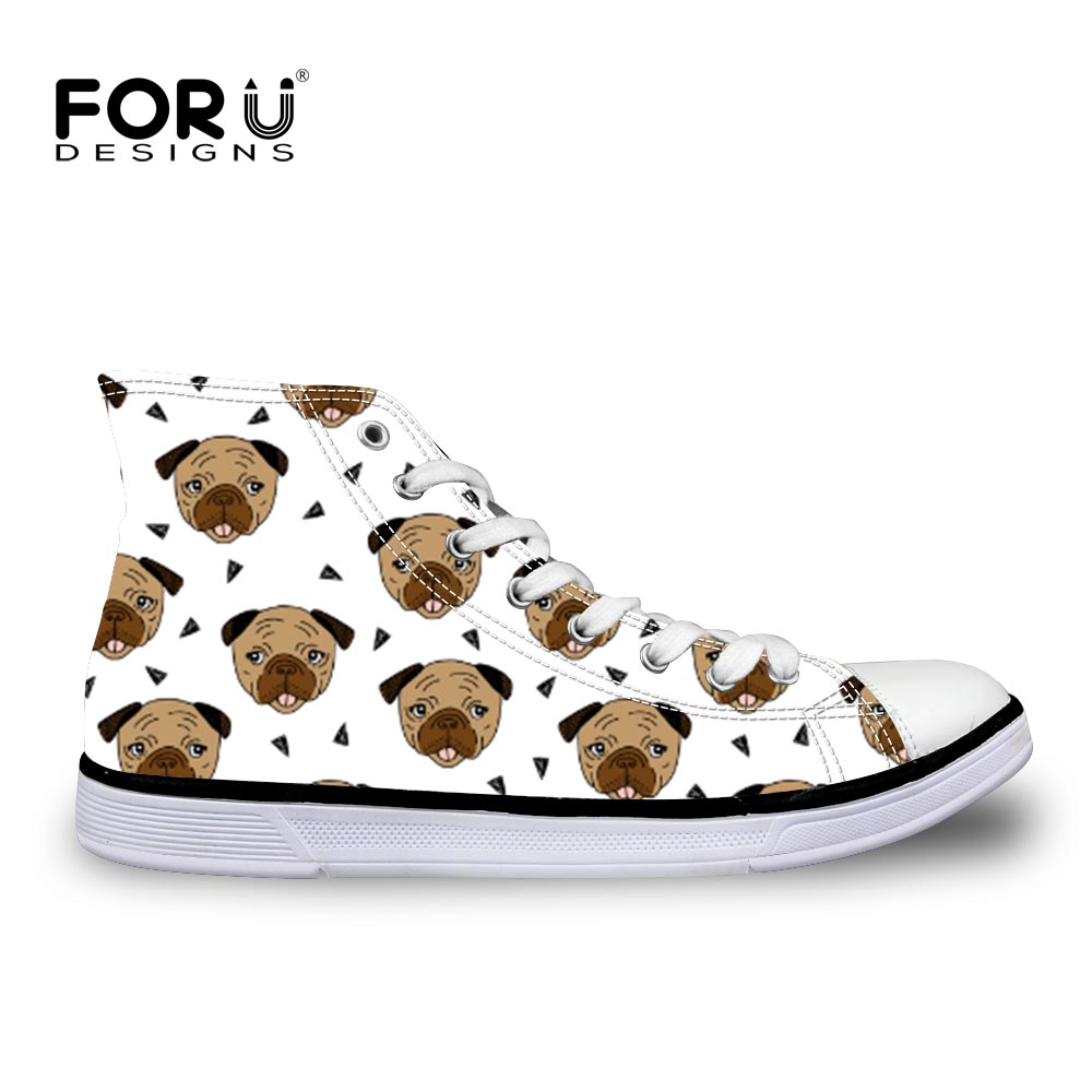 FORUDESIGNS Women Vulcanized Shoes 2018 Fashion Pug Cartoon Printed Canvas Shoes Lace-up Casual White Ladies Shoes Girl Sneakers