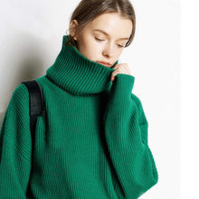 JVEII Autumn and winter new cashmere sweater high collar sweaters fashion 2018 women pullover loose knit top plus size sweater(China)